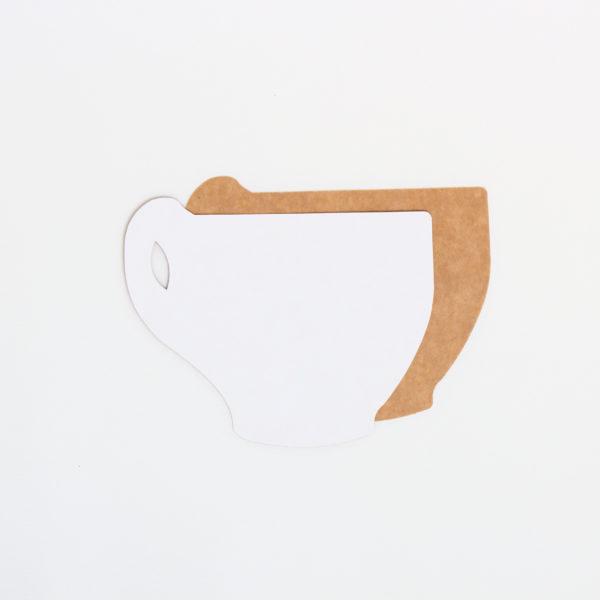 Baza do kartek filiżanka (biało-brązowa)