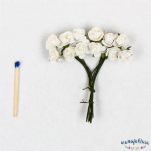 Papierowe różyczki – białe 12 szt.