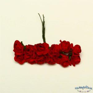 Papierowe różyczki – ciemny czerwony (2 cm) 12 szt.