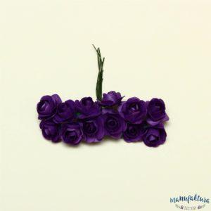 Papierowe różyczki – ciemny fiolet (2 cm) 12 szt.