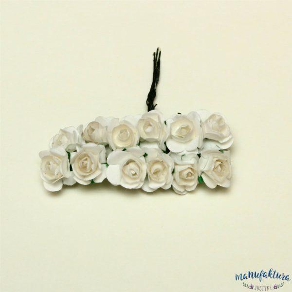 Papierowe różyczki – białe (2 cm) 12 szt.