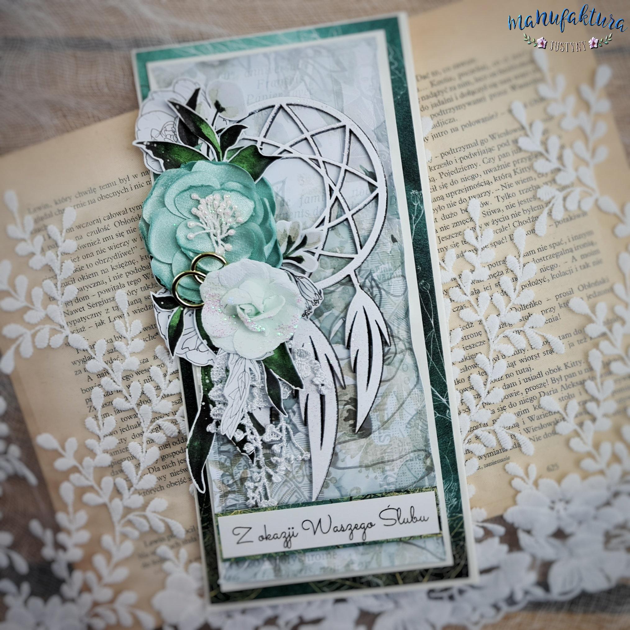 kartka na ślub z łapaczem snów